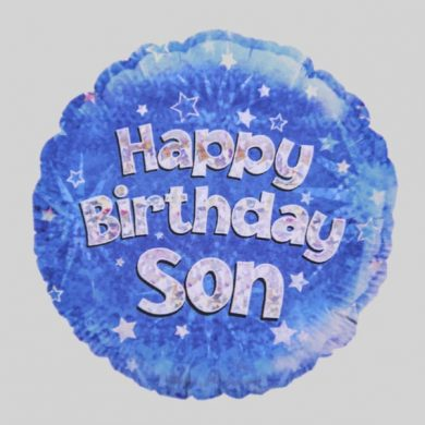 Happy Birthday Son Balloon - Holographic Blue with stars