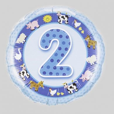 Number 2 Birthday Balloon - Blue with farm animals