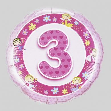 Number 3 Birthday Balloon - Pink with fairies