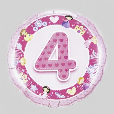Number 4 Birthday Balloon - Pink with princesses