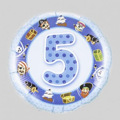 Number 5 Birthday Balloon - Blue with pirates