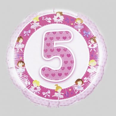 Number 5 Birthday Balloon - Pink with ballerinas
