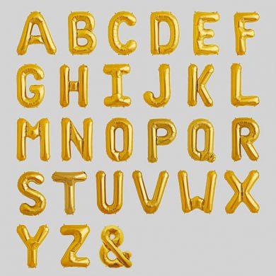 Gold Alphabet, Letter Balloons