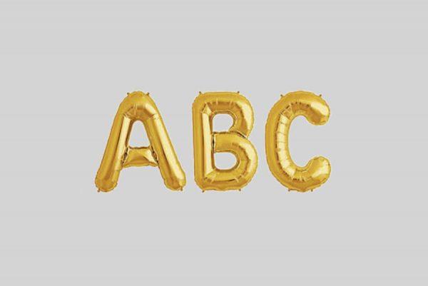 Gold Foil ABC Letters Balloon