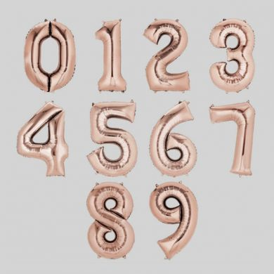 Number 0-9, Rose Gold Foil Balloons