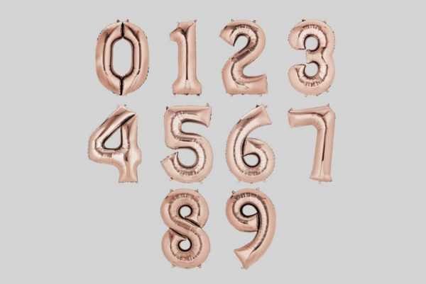 Number 0-9, Rose Gold Foil Balloons