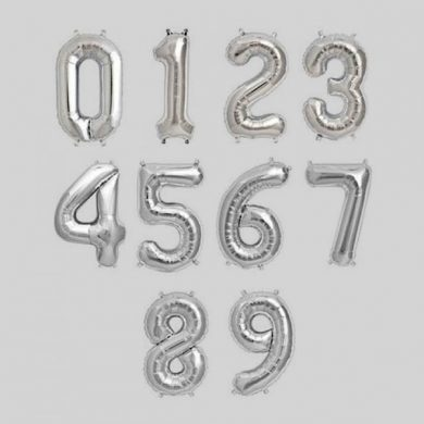 Number 0-9, Silver Foil Balloons
